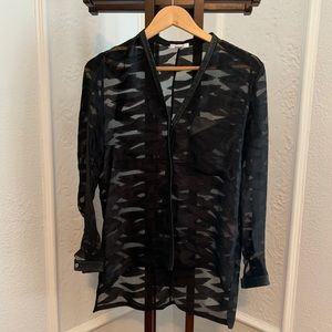 Helmut Lang Black Sheer Blouse